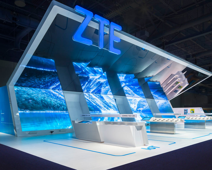 ZTE blue geometric exhibit